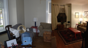 Living room before and after.