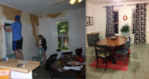 Dining area before and after.