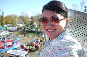 Steph at the top of the ferris wheel
