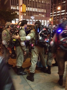Ghost busters stand in a group