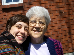 Me and my grandma, outside her house