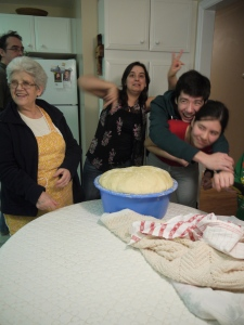 Avò, my sister Alicia, and my cousins Priscilla and Nathanael. Oh, and a baby bathtub full of dough.