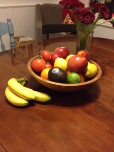 This is my fruit bowl. It's where the fruit lives. Always.