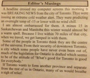 The editorial from Springwater News