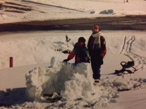 Me and Alicia, in the early 90s. Yes, that is a one-piece neon snowsuit.