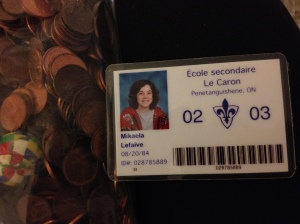 My high school student card and penny collection