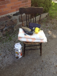 $40 Booty: chair, quilt, urn, zippo, mug, leather clutch and (of course) Ferdinand.