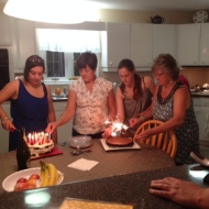 People I love, lighting my birthday cakes