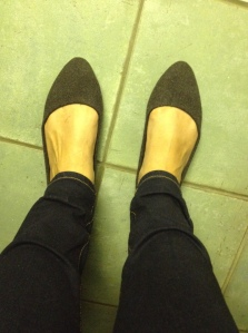 New woolly grey shoes.