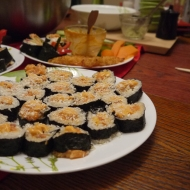 Eating sushi made with love by my friends Joël and Danielle