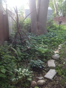 So, so, so full of weeds, punctuated by hostas