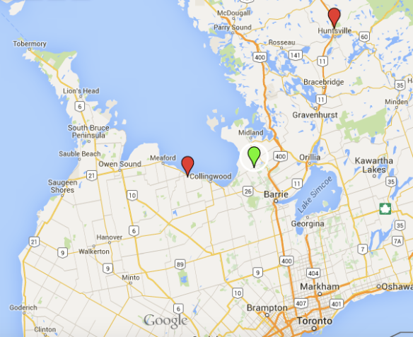 Here's a map with Toronto, Blue Mountains, Elmvale and Huntsville, for context