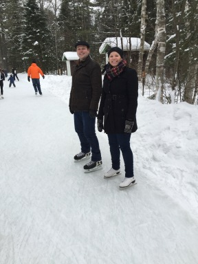 Mireille and Patrick on the skating trail