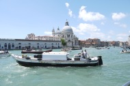 The bustling grand canal in Venice