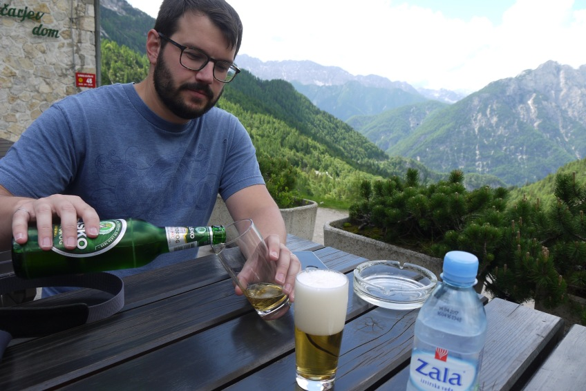 One of many beers in the Slovenian alps