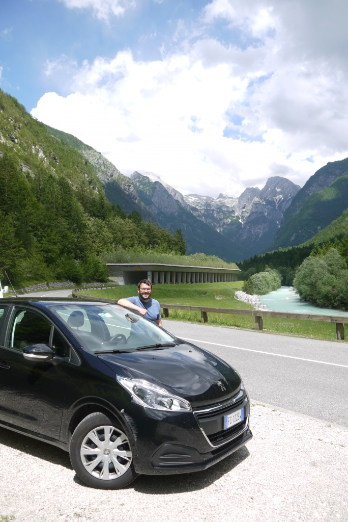 JF and our rented car in the Soca Valley.