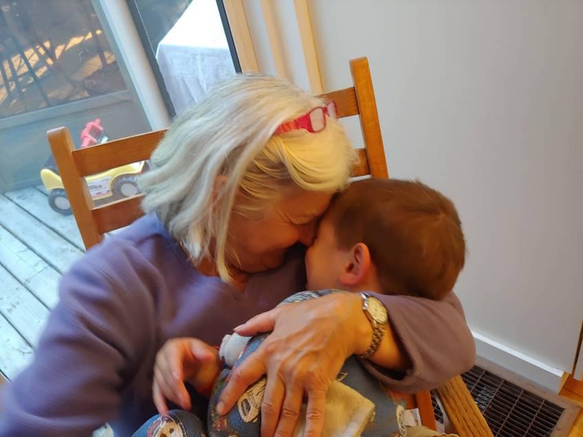 Arthur's grandma pulling him in for a big hug