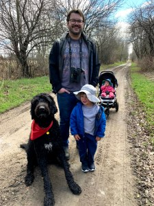 Arthur, JF, Odie and Flo on a trail